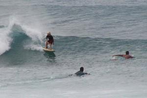 Surfing danger, paddling over the shoulder